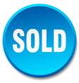 sold blue round flat isolated push button vector image vector image