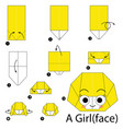 step instructions how to make origami a girl vector image vector image