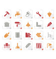 stylized building and home renovation icons vector image vector image