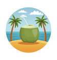 summer and beach round symbol vector image
