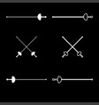 swords for fencing icon set white color flat vector image