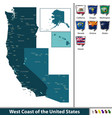 west coast of the united states vector image vector image