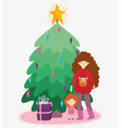 woman with sweater and little girl tree gift merry vector image vector image
