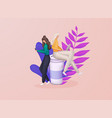 women sit on a large cup and working concept vector image vector image