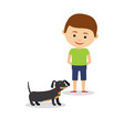 little boy with dachshund vector image