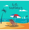 Summer Poster Tropical Beach with Palm Trees vector image