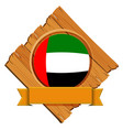 united arab emirates flag on round badge with vector image