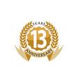 13 years ribbon anniversary vector image vector image