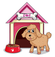 A puppy outside the doghouse vector image vector image