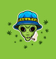 alien with jamb smoking weed poster vector image vector image