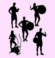 athlete gesture silhouette vector image vector image