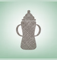 baby bottle sign brown flax icon on green vector image vector image