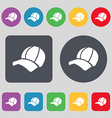 Ball cap icon sign A set of 12 colored buttons vector image vector image
