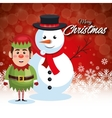 card merry christmas snowman with elf and vector image vector image