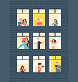 cartoon man and woman neighbors in apartment vector image vector image