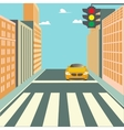 City Street with Buildings Traffic Light and Car vector image vector image