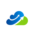 cloud arrow business finance blue logo vector image