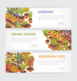 collection of horizontal web banners with plants vector image vector image