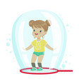cute little girl standing inside soap bubble vector image vector image