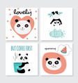 cute panda card set - isolated cartoon animal with vector image vector image