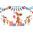 deers celebrate new year in friendly company vector image vector image