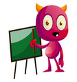 devil with blackboard on white background vector image vector image