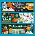educational supplies welcome back to school vector image vector image