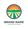 farm hill circle logo design vector image