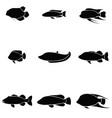 fish icon set vector image vector image
