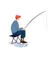 fisherman sitting on folding chair male fisher vector image vector image