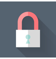 Flat closed padlock icon over blue vector image