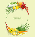flat lay fresh vegetables on green background vector image vector image