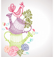 Floral background with watering can and bird vector image