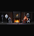 gentleman smoking tube near home fireplace vector image