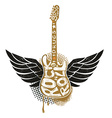 Guitar with wings on grunge background vector image vector image
