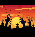 halloween background with zombie hands on vector image
