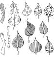 Hand Drawn Leaf Doodle Set vector image vector image