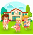 happy schoolchildren with good grade poster vector image vector image