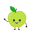 happy smilling cute apple vector image vector image