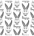 hipster rabbits seamless pattern french greeting vector image vector image