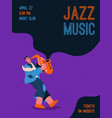 jazz band member playing music at festival vector image vector image