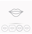 Lips icon Smiling mouth sign vector image