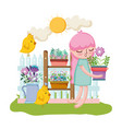 little girl lifting houseplant with shelf and vector image