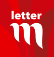 logo the letter M on a red background vector image vector image