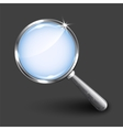 Magnifying glass on dark background vector image vector image