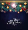 merry christmas background with realistic fir tree vector image vector image