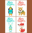 merry christmas set posters with funny animals vector image vector image