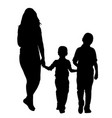 mother with children silhouettes vector image vector image