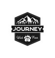 moutnain journey badge wild and free logo vector image vector image
