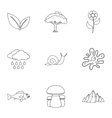 Nature icons set outline style vector image